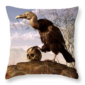 Buzzard With A Skull Throw Pillow