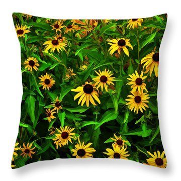 Buzzing Black Eyes Throw Pillow