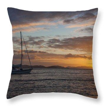 Bvi Sunset Throw Pillow by Adam Romanowicz