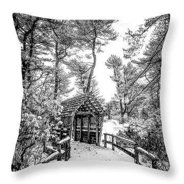 Bw Covered Bridge In The Snow Throw Pillow