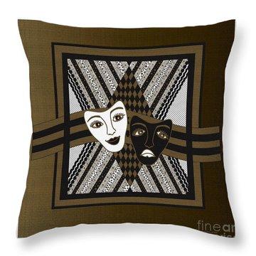Throw Pillow featuring the digital art Bw Janus Masks by Megan Dirsa-DuBois