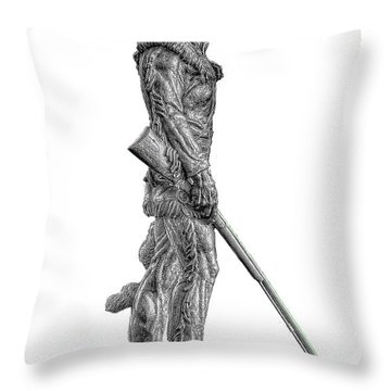 Bw Of Mountaineer Statue Throw Pillow by Dan Friend
