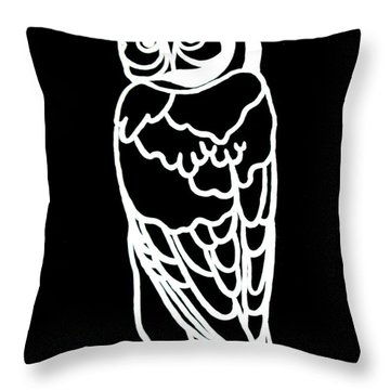 Bw Owl Throw Pillow by Amy Sorrell