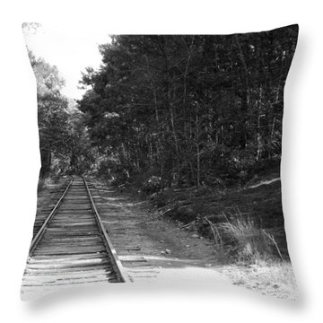 Bw Railroad Track To Somewhere Throw Pillow