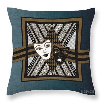 Throw Pillow featuring the digital art Bwhite Janus Masks by Megan Dirsa-DuBois