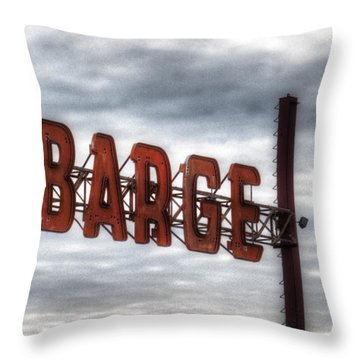 by The Barge Throw Pillow