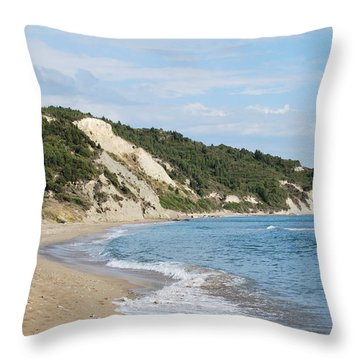 Throw Pillow featuring the photograph By The Beach by George Katechis
