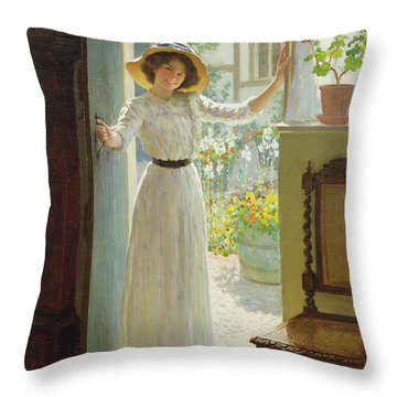 By The Cottage Door Throw Pillow by William Henry Margetson