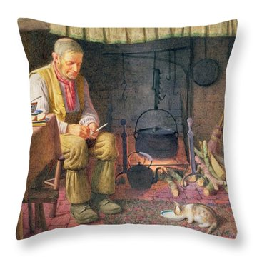 By The Fireside Throw Pillow