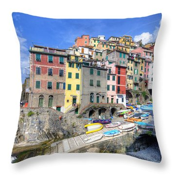 By The Harbor In Riomaggiore Throw Pillow
