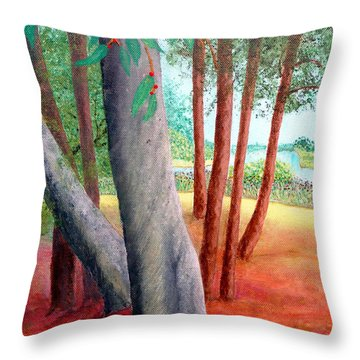 Throw Pillow featuring the painting By The Lafayette River by Jim Whalen