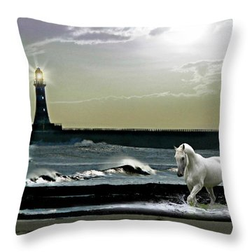 By The Light Of The Silvery Moon Throw Pillow by Morag Bates