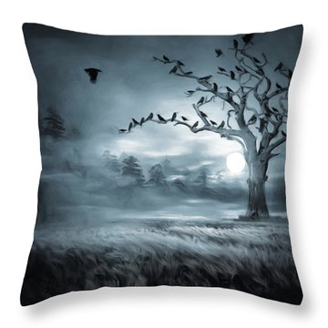By The Moonlight Throw Pillow by Lourry Legarde