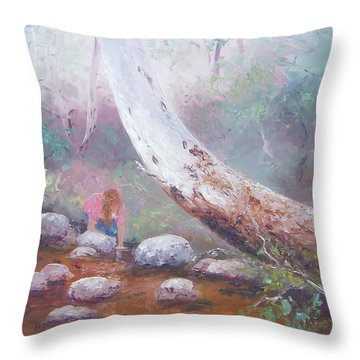 Landscape With Creek Throw Pillows