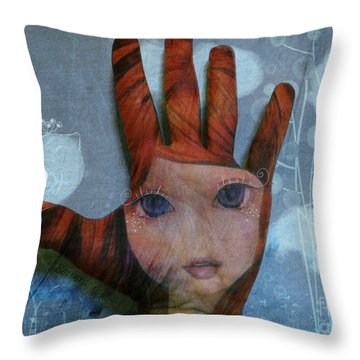 Throw Pillow featuring the digital art By The Pricking Of My Thumb by Barbara Orenya