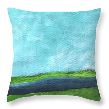 By The River- Abstract Landscape Painting Throw Pillow