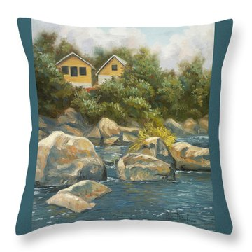 By The River Throw Pillow by Lucie Bilodeau