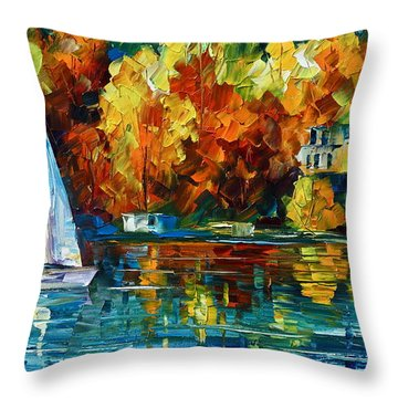 By The Rivershore Throw Pillow by Leonid Afremov