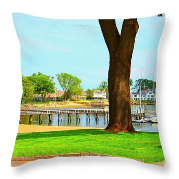 Throw Pillow featuring the photograph By The Sea by Judy Palkimas