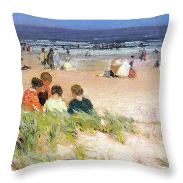 By The Shore Throw Pillow by Edward Potthast