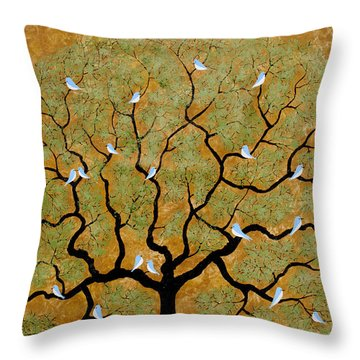 By The Tree Re-painted Throw Pillow