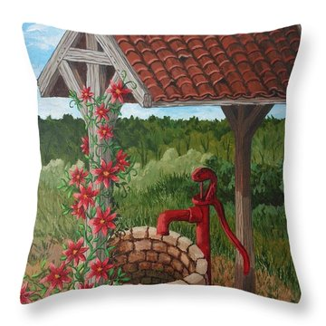 Throw Pillow featuring the painting By The Water Pump by Katherine Young-Beck