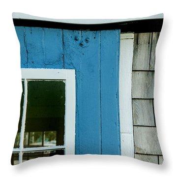 Old Door In Blue Throw Pillow