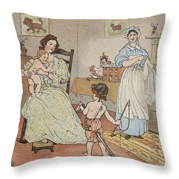 Bye Baby Bunting Throw Pillow by Rnadolph Caldecott