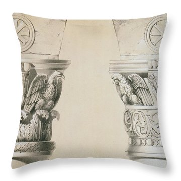 Byzantine Capitals From Columns In The Nave Of The Church Of St Demetrius In Thessalonica Throw Pillow by Charles Felix Marie Texier