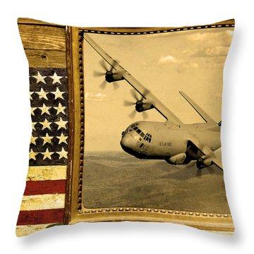C-130 Hercules Rustic Flag Throw Pillow by Reggie Saunders