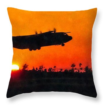 C-130 Sunset Throw Pillow
