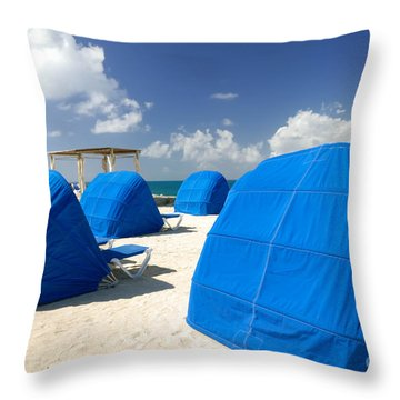 Cabanas On The Beach Throw Pillow by Amy Cicconi
