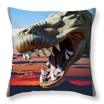 Cabazon Dinosaur Throw Pillow by Walter Herrit