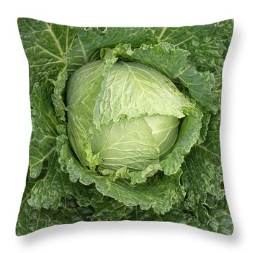 Cabbage And Marigolds Throw Pillow
