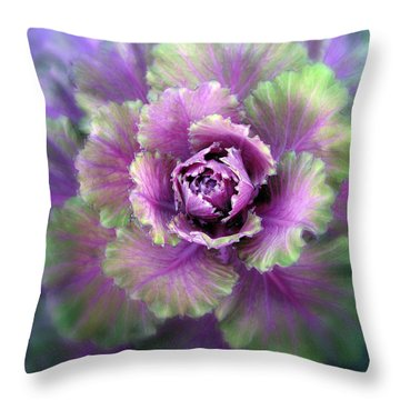 Cabbage Flower Throw Pillow by Jessica Jenney