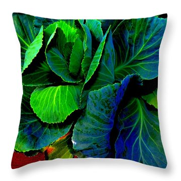 Cabbage Gone Wild Throw Pillow