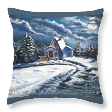 Cabin At Night Throw Pillow