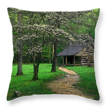 Throw Pillow featuring the photograph Cabin In Cades Cove by Rodney Lee Williams