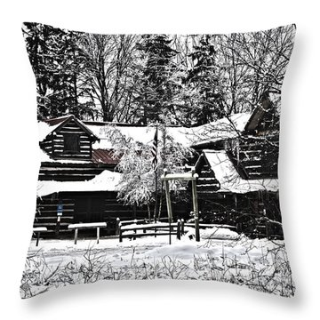 Throw Pillow featuring the photograph Cabin In The Woods by Deborah Klubertanz