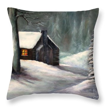 Throw Pillow featuring the painting Cabin In The Woods by Hazel Holland