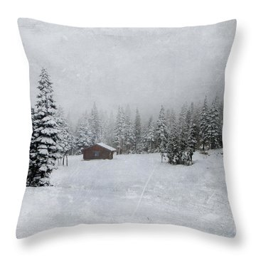 Cabin In The Woods-textured Throw Pillow