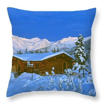 Cabin Mount Alyeska, Alaska, Usa Throw Pillow