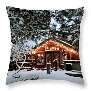Cabin With Christmas Lights Throw Pillow