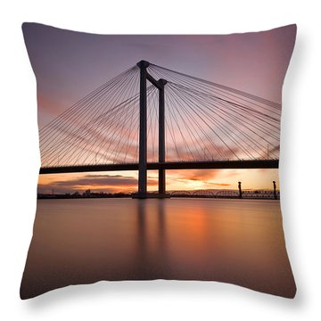 Throw Pillow featuring the photograph Cable Bridge by Ronda Kimbrow