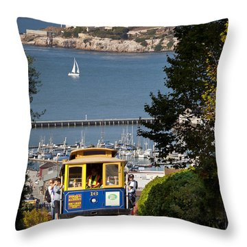 Throw Pillow featuring the photograph San Francisco Cable Car On Hyde Street Print By Brian Jannsen Photography by Brian Jannsen