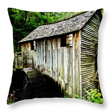 Cable Mill - Cades Cove Throw Pillow by Stephen Stookey