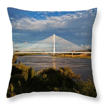 Cable-stayed Bridge Over The River Suir Throw Pillow