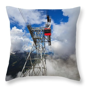 cableway in Italian Dolomites Throw Pillow
