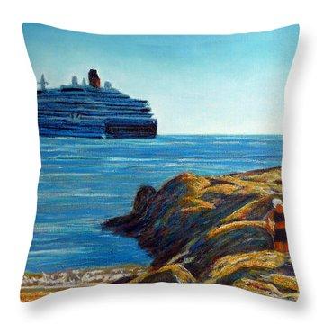Cabo Marina Cruise Ship II Throw Pillow