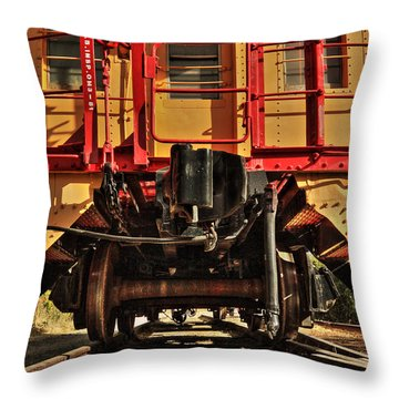 Caboose On The Loose Throw Pillow by James Eddy